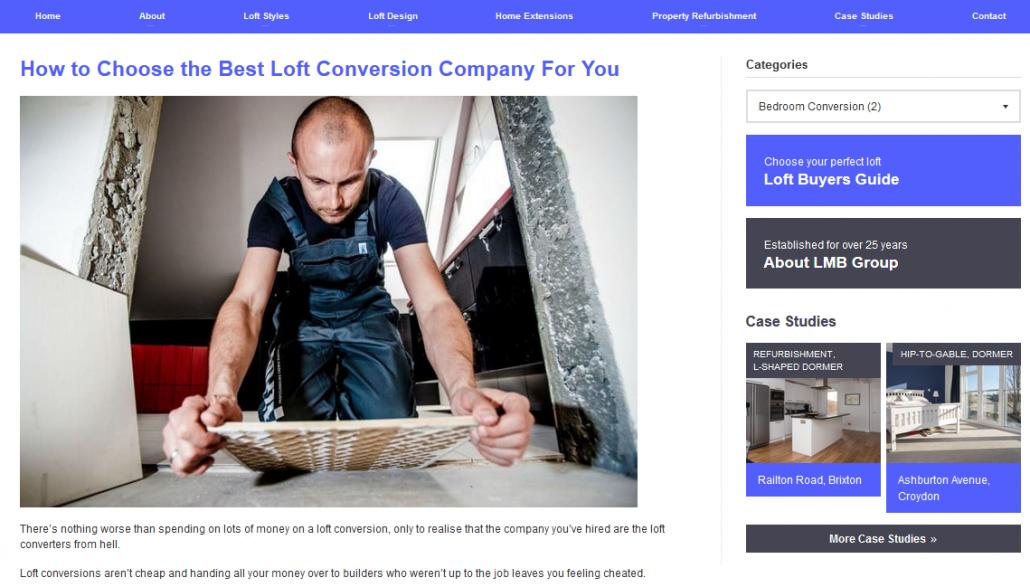 Screen shot of a loft conversion company blog post