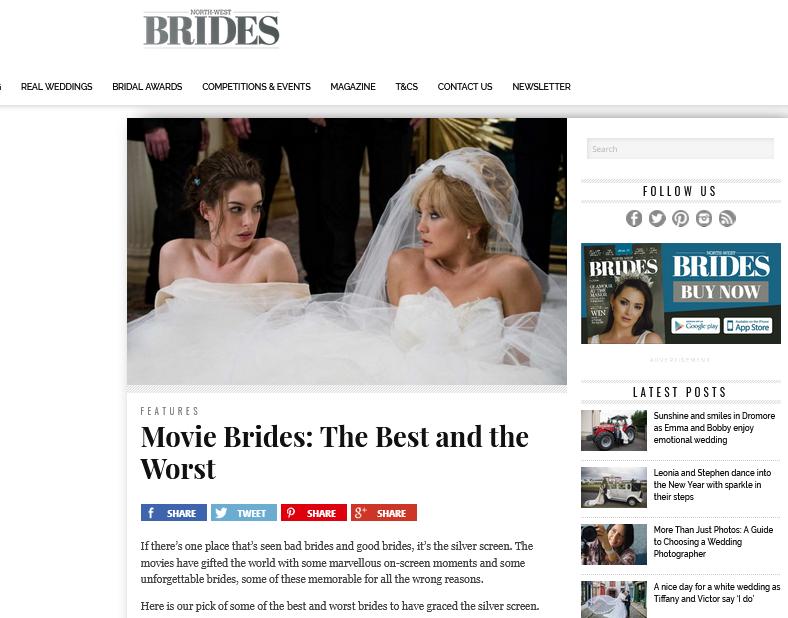 Screenshot of a North West Brides blog post